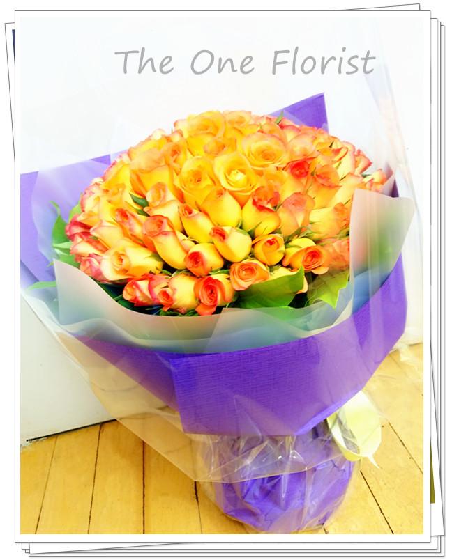99枝雙色橙玫瑰花束 網上花店(BQ-85)