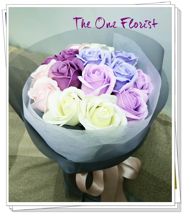 (K08)香皂花-5色玫瑰花束