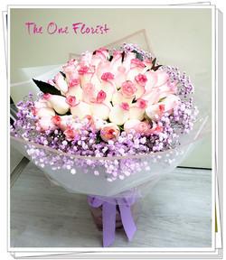 52枝雙色玫瑰花束BQ-163