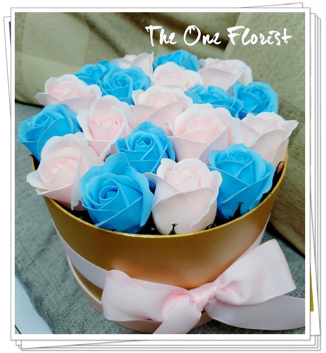 (K29)香皂花-淺藍粉紅玫瑰花盒