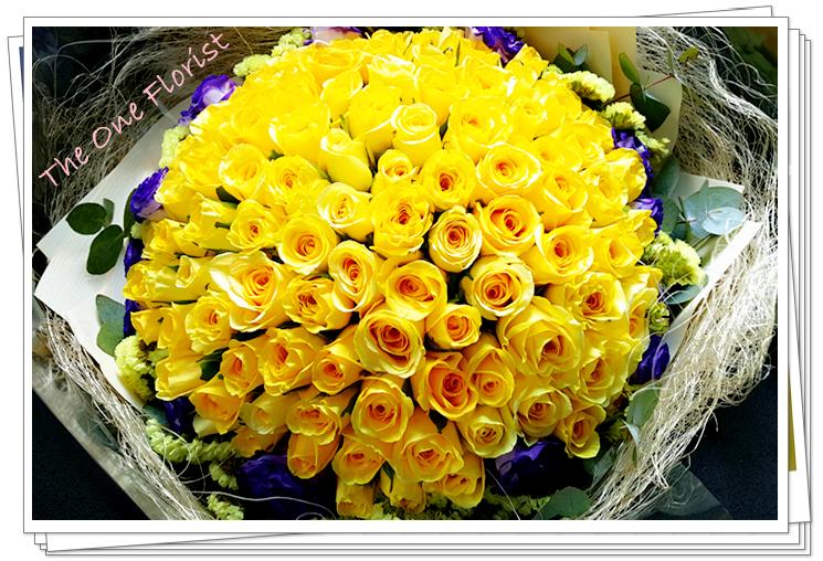 99枝黃玫瑰花束 求婚花束 (BQ-82)