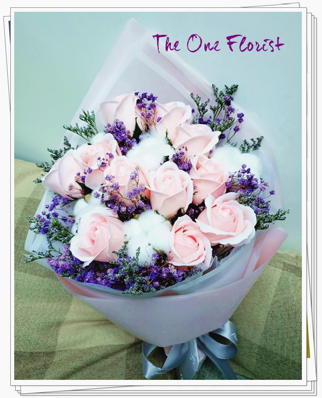 (K05)香皂花-淺粉紅玫瑰花束