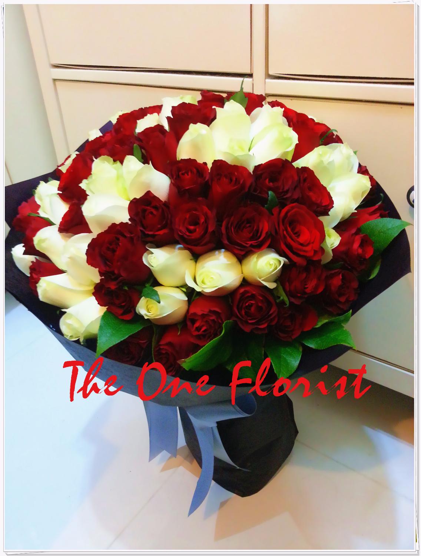 99枝紅白荷蘭玫瑰花束 網上花店 (BQ-25)