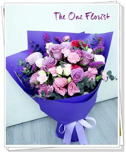 (MD-A14)母親節紫玫瑰康乃馨花束