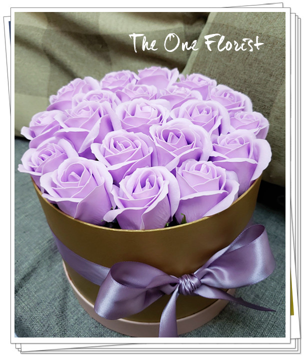 (K28)香皂花-淺紫玫瑰花盒