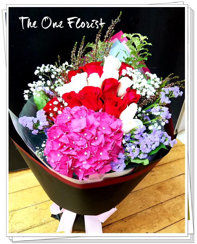 20枝玫瑰繡球花束 網上花店 (BQ-120)