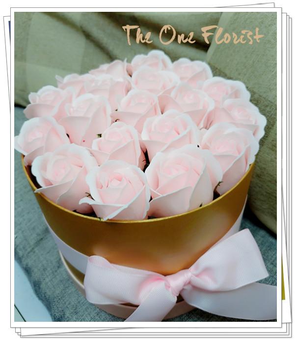 (K24)香皂花-淺粉紅玫瑰花盒