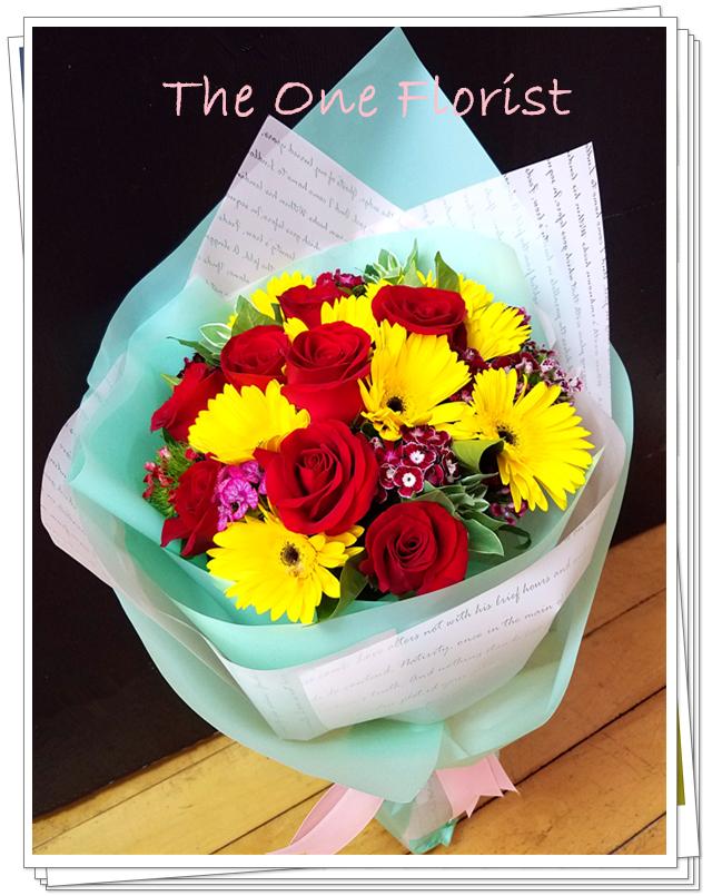 10枝玫瑰太陽花花束 網上花店 (GD-A15)