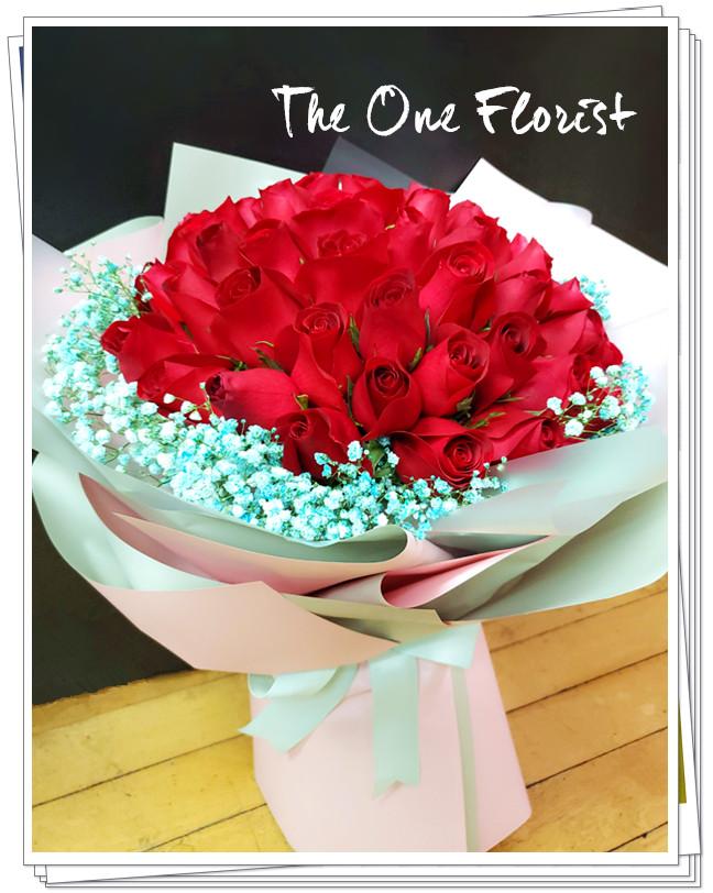 我愛你52枝玫瑰滿天星求婚花束 (BQ-130)