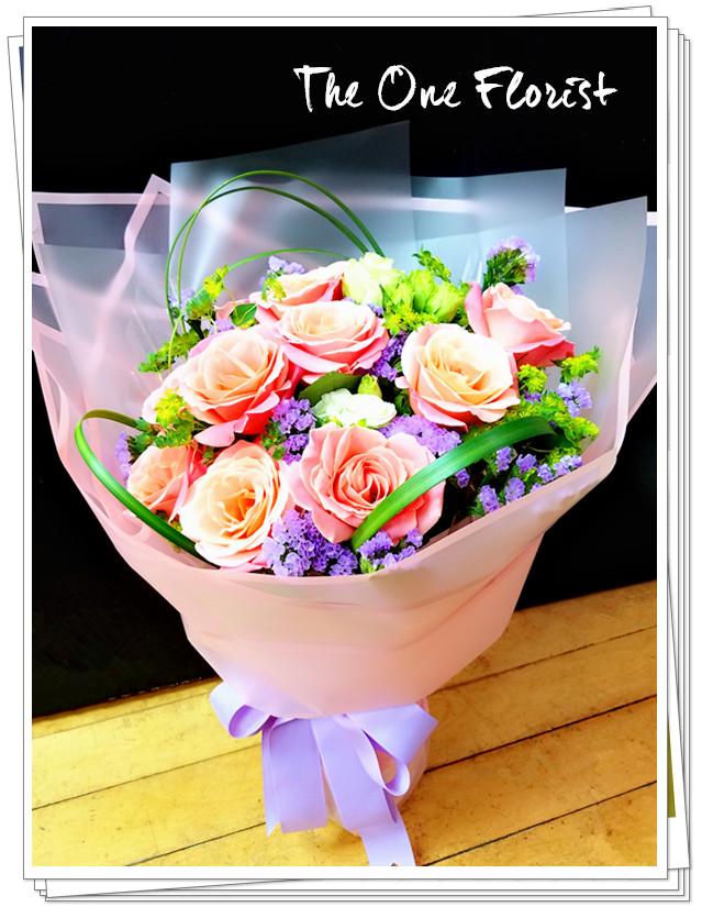 10枝肯牙玫瑰花束  花店訂花 (BQ-122)