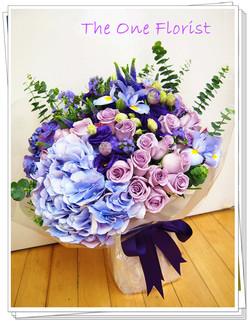 美國淺紫玫瑰繡球花束 網上花店 (BQ-48)