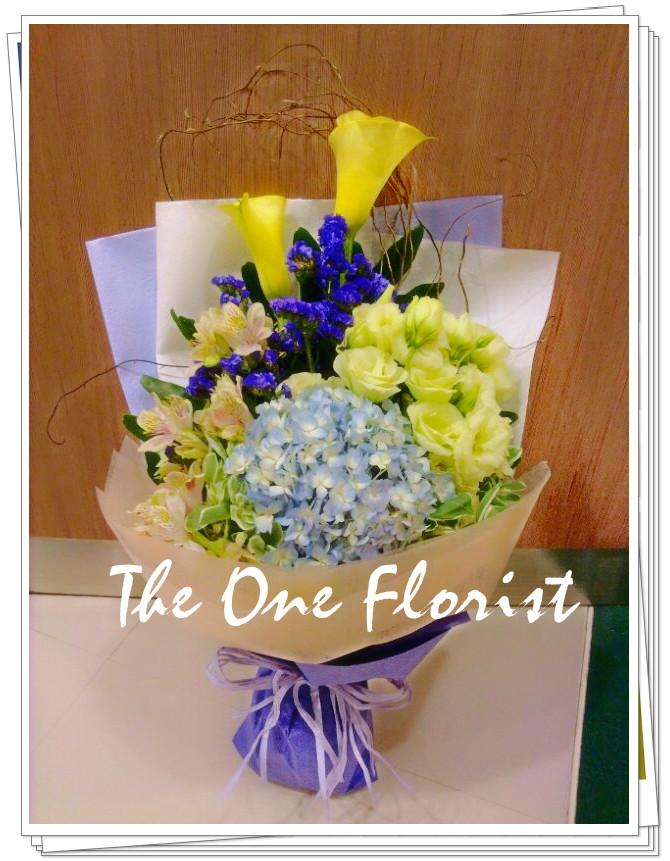 繡球馬蹄蘭桔梗花束 網上花店 (BQ-21)
