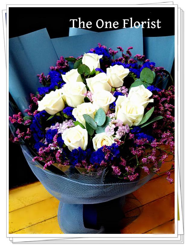 白玫瑰花束 網上花店 (BQ-107)