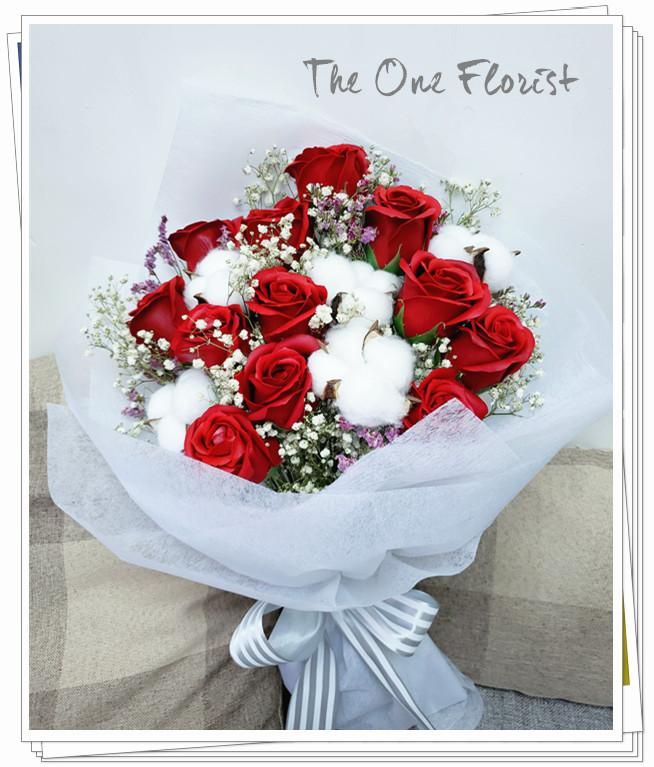 (K02)香皂花-酒紅玫瑰花束