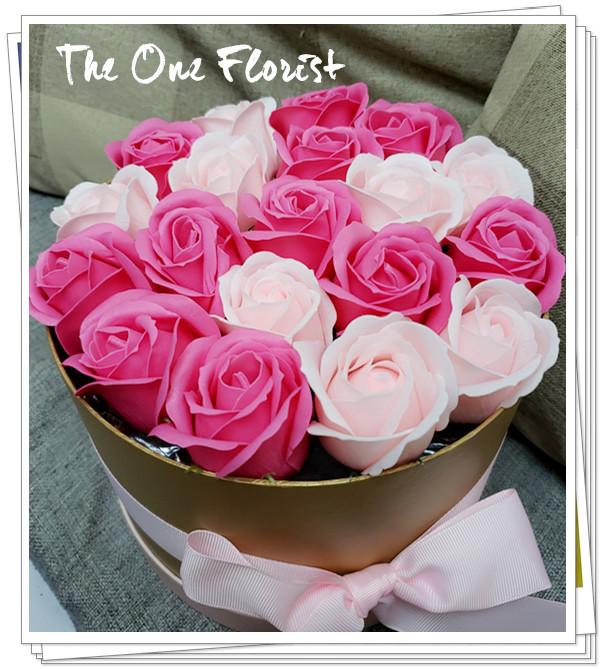 (K14)香皂花-桃紅淺粉紅玫瑰花盒