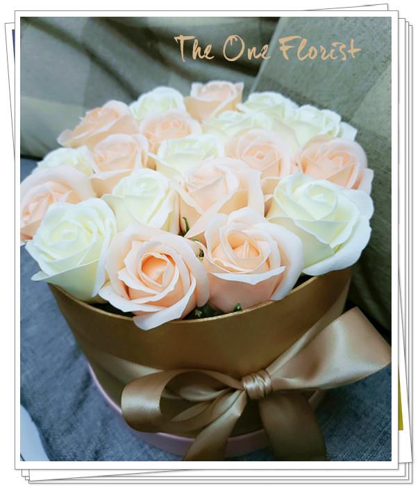 (K23)香皂花-香檳白玫瑰花盒