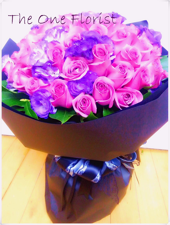 99枝紫玫瑰桔梗花束 網上花店 (BQ-36)