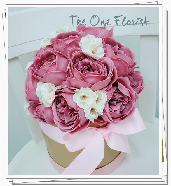 (K11)香皂花-豆沙粉庭園玫瑰花盒