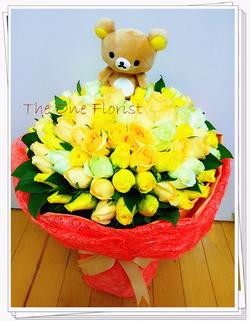 99枝三色玫瑰花束 網上花店 (BQ-46)