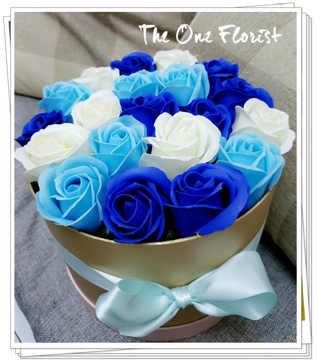 (K19)香皂花-深淺藍白玫瑰花盒
