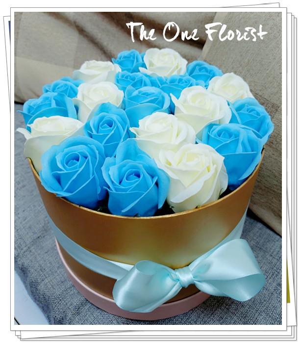 (K16)香皂花-淺藍白玫瑰花盒