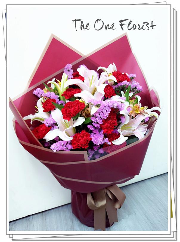 (MD-A15)母親節粉百合康乃馨花束