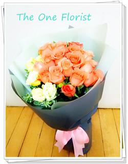 18枝粉橙玫瑰花束 網上花店 (BQ-86)