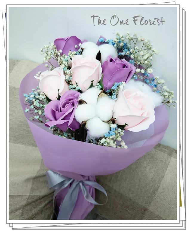 (K03)香皂花-淺紫粉紅玫瑰花束