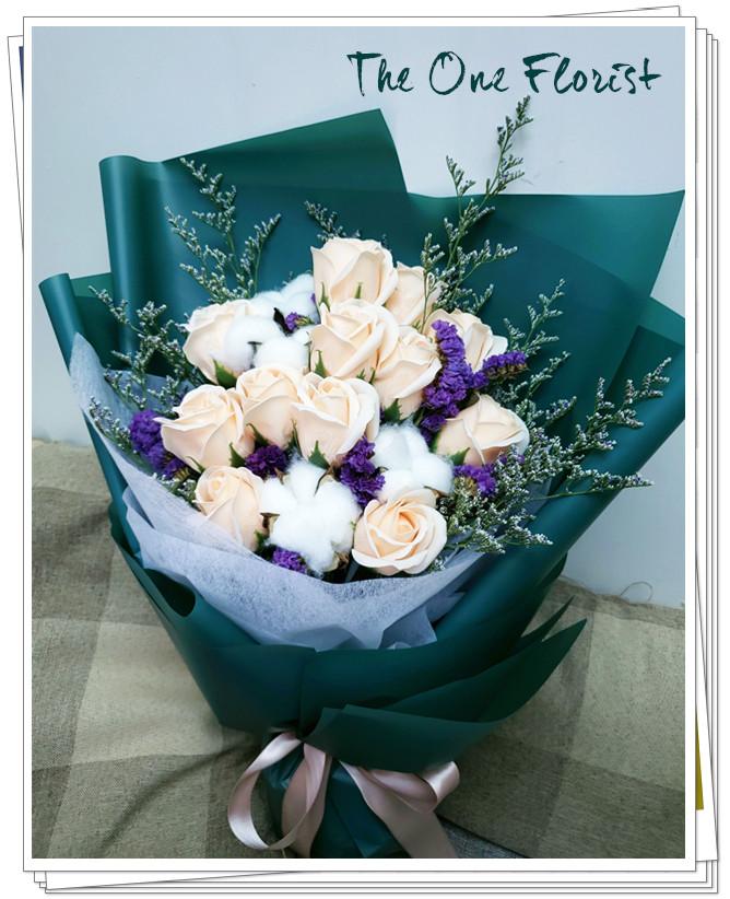 (K04)香皂花-香檳玫瑰花束