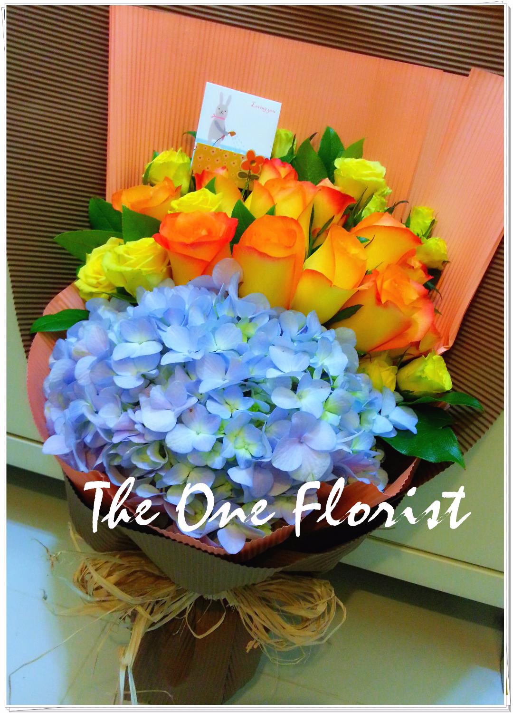 12枝美國玫瑰繡球花束 網上花店 (BQ-24)