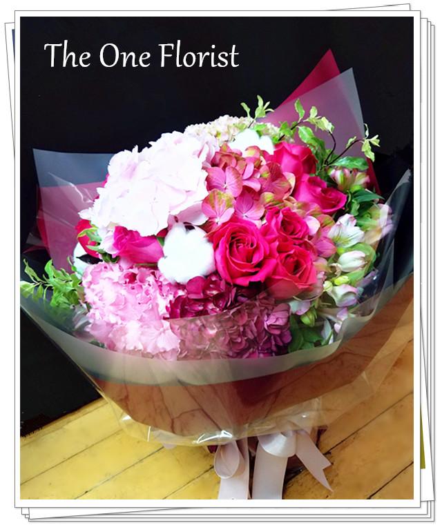 荷蘭繡球玫瑰花束 旺角花店 (BQ-112)
