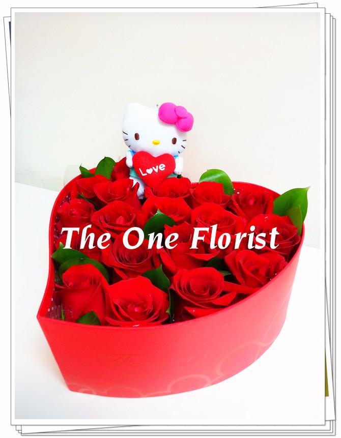 18枝紅玫瑰心形花盒 (VBox-03)