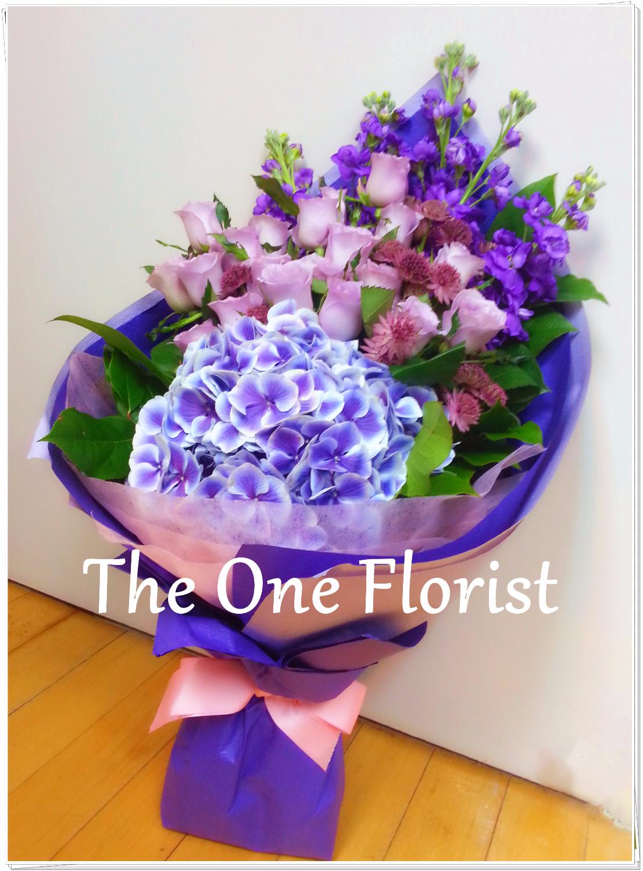 紫玫瑰繡球花束 網上花店 (BQ-26)
