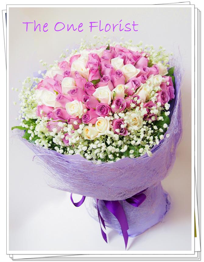 求婚花束99枝紫白玫瑰 網上訂花(BQ-63)