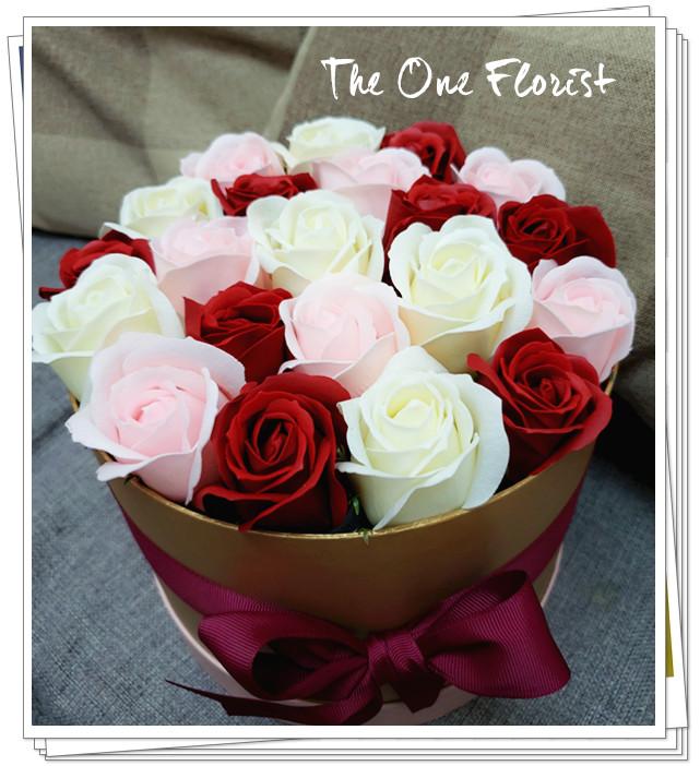 (K17)香皂花-酒紅淺粉白玫瑰花盒