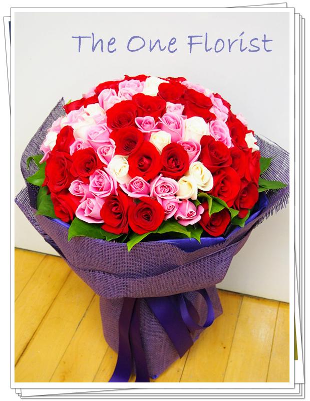 99枝3色玫瑰花束 求婚精選 (BQ-51)
