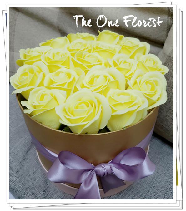 (K25)香皂花-奶黃玫瑰花盒