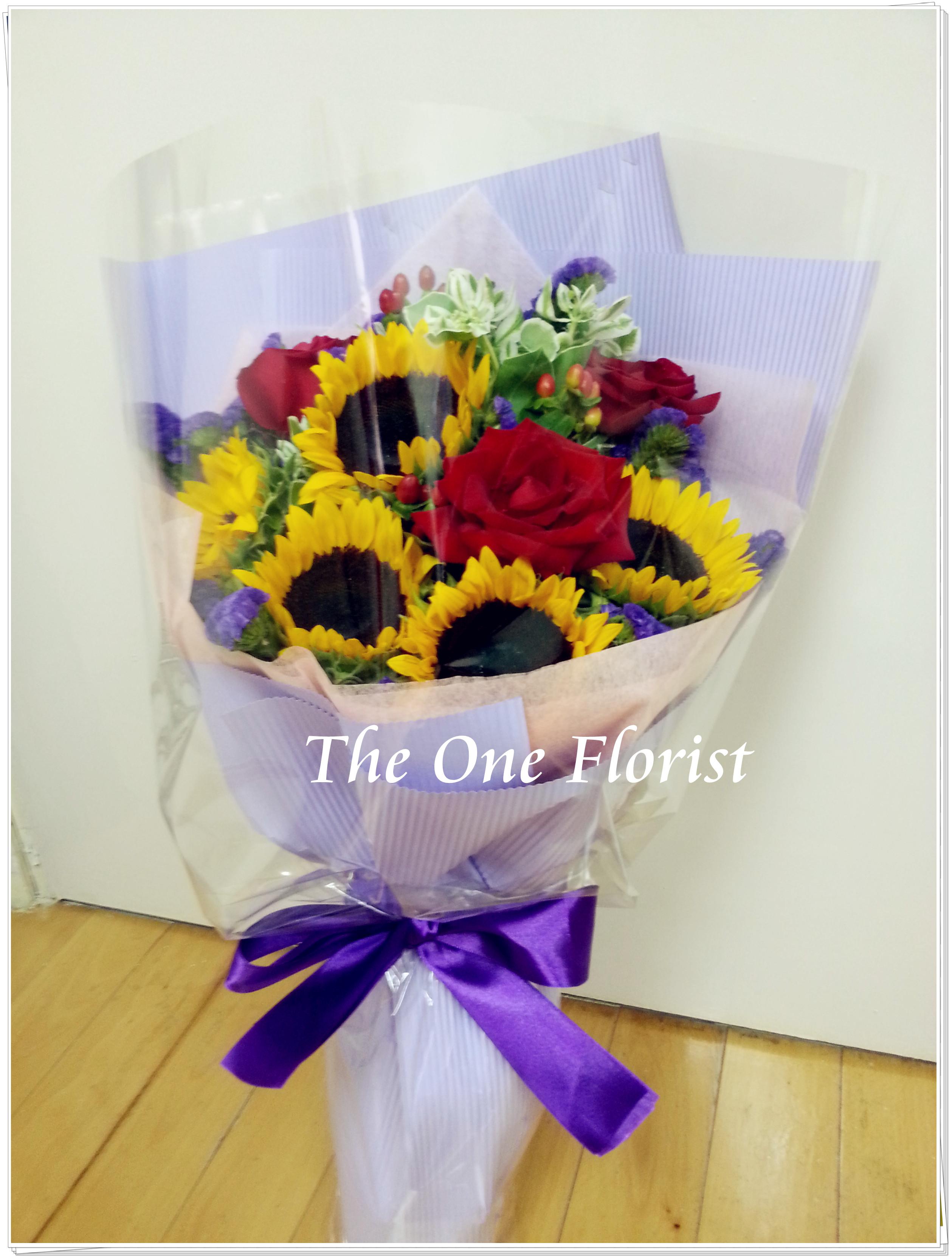 向日葵玫瑰花束 網上花店 (BQ-17)