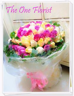 99枝紅白玫瑰花束 網上花店 (BQ-27)