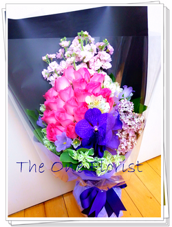 桃紅玫瑰萬代蘭花束 網上花店 (BQ-45)