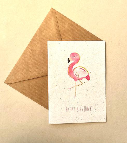 Flamingo, Plantable Greeting Card