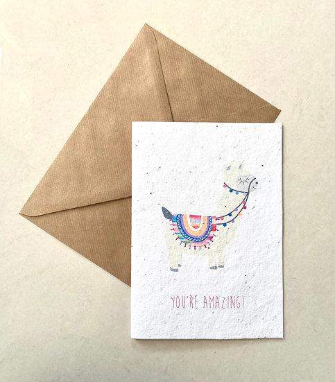 Llama, Plantable Greeting Card