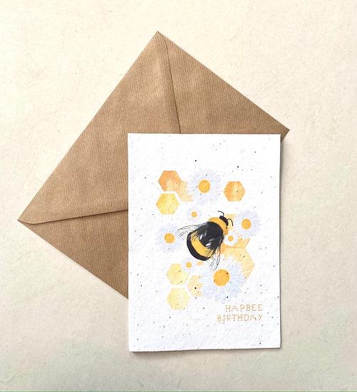 Hapbee Birthday, Plantable Greeting Card