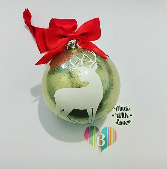 Stag Round Christmas Bauble