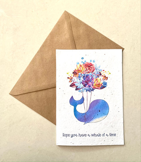 Whale of a time, Plantable Greeting Card