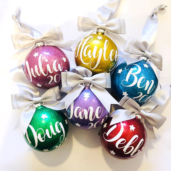 Personalised Round Christmas Bauble