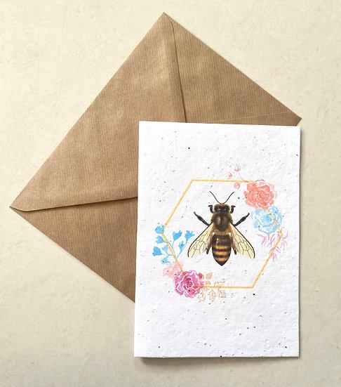 Honey bee, Plantable Greeting Card