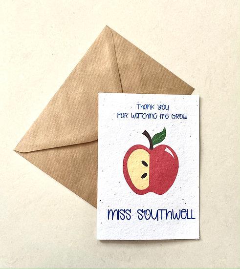 Apple Teacher Card, Plantable Greeting Card