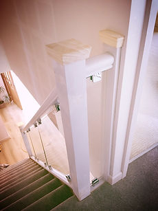 Pine stairs with glass sides