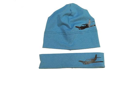 """2er Set Haube + Stirnband """"Flugzeug"""""""